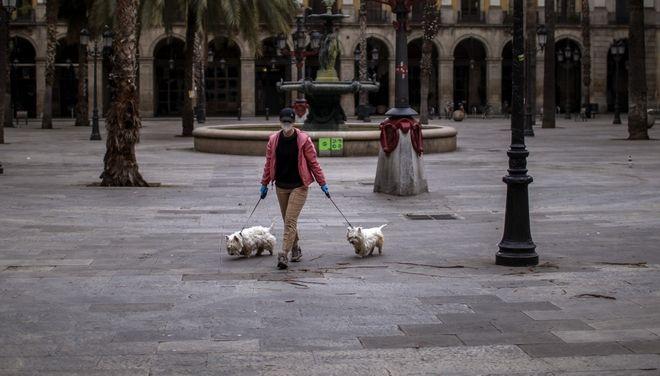 Γυναίκα κάνει βόλτα με τα σκυλιά της στην Ισπανία