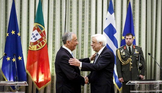 Συνάντηση του Προέδρου της Δημοκρατίας Προκόπη Παυλόπουλου με τον Πρόεδρο της Πορτογαλίας, Marcelo Rebelo de Sousa, την Τρίτη 13 Μαρτίου 2018, στο Προεδρικό μέγαρο. (EUROKINISSI/ΓΙΩΡΓΟΣ ΚΟΝΤΑΡΙΝΗΣ)