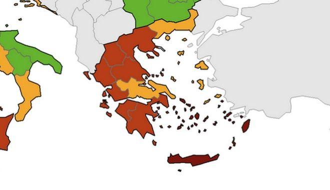 """Χάρτης κορονοϊού ECDC: """"Κόκκινη"""" η Ελλάδα σχεδόν παντού, κίτρινη η Περιφέρεια ΑΜΘ"""