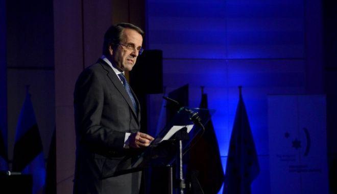 Ο πρωθυπουργός Αντώνης Σαμαράς κατά την ομιλία του στην εκδήλωση του Ευρωπαϊκού Κοινοβουλίου για την Παγκόσμια Ημέρα Μνήμης του Ολοκαυτώματος, στις Βρυξέλλες την Δευτέρα 27 Ιανουαρίου 2014. (EUROKINISSI/ΓΟΥΛΙΕΛΜΟΣ ΑΝΤΩΝΙΟΥ)