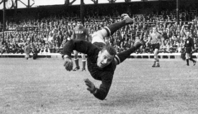 Ο Λεβ Γιασίν σε αγώνα της ΕΣΣΔ με την Ιταλία για το Μουντιάλ του 1966.