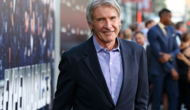 "Harrison Ford arrives at the Lionsgate Los Angeles premiere of ""The Expendables 3"" at TCL Chinese Theatre on Monday, Aug. 11, 2014, in Hollywood, Calif. (Photo by Alexandra Wyman/Invision for Lionsgate/AP Images)"