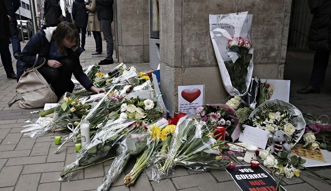 General atmosphere after the double terrorist attack in Brussels, Belgium on March 24, 2016. /           ,  24 , 2016.