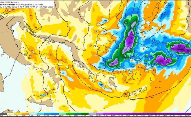 Προβλεπόμενα ύψη υετού από Πέμπτη 03/12:00 έως Παρασκευή 04/00:00 UTC