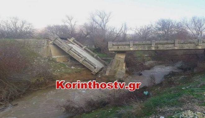 Κατέρρευσε γέφυρα στην Κορινθία