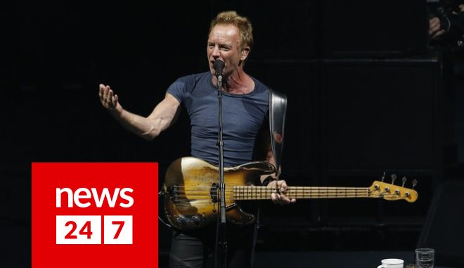 Sting performs during his concert at the Auditorio Nacional in Mexico City, Wednesday, May 17, 2017. (AP Photo/Marco Ugarte)