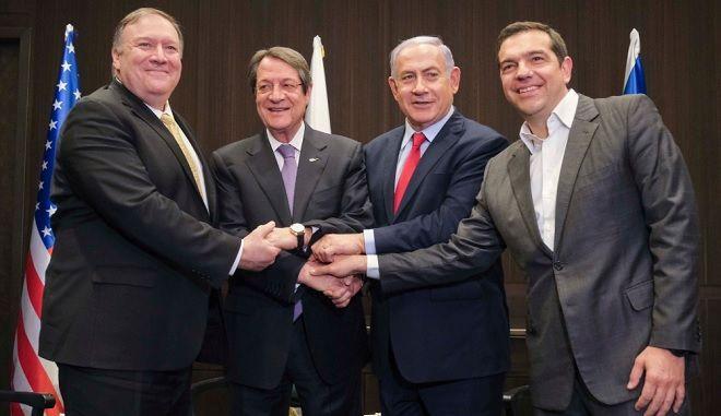 Συνάντηση Κορυφής στην Ιερουσαλήμ με τον Πρωθυπουργό του Ισραήλ Benjamin Netanyahu, τον Πρόεδρο της Κύπρου Νίκο Αναστασιάδη και τον Υπουργό Εξωτερικών των ΗΠΑ Mike Pompeo.