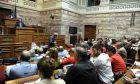 Συνεδρίαση της Κοινοβουλευτικής Ομάδας του ΣΥΡΙΖΑ την Τετάρτη 18 Μαΐου 2016. Τους βουλευτές ενημέρωσαν οι υπουργοί Οικονομικών Ευκλείδης Τσακαλώτος και ο αναπληρωτής υπουργός Γ. Χουλιαράκης για το περιεχόμενο του νομοσχεδίου και για το κλείσιμο της αξιολόγησης. (EUROKINISSI/ΤΑΤΙΑΝΑ ΜΠΟΛΑΡΗ)