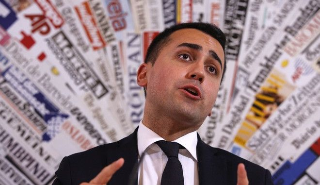 Italy's 5-Star Movement and Italian Low Chamber vice President Luigi Di Maio arrives for a press conference at the Foreign Press Club in Rome, Thursday, March 23, 2017. The anti-establishment 5-Star Movement is riding the wave of populist sentiment sweeping through Europe and the U.S., aiming for early elections now that polls for the first time have placed it well ahead of the ruling but fractured Democratic Party. (AP Photo/Domenico Stinellis)