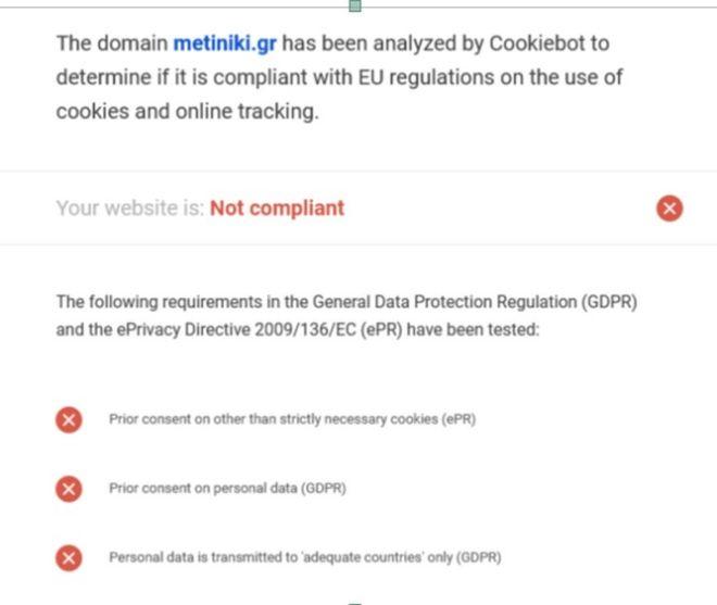 Η Νίκη Κεραμέως κουρελιάζει τον GDPR στο προσωπικό της site