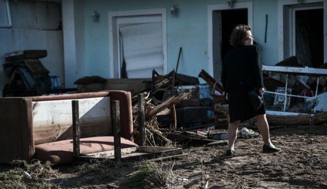 """Η επόμενη ημέρα των καταστροφών, Τρίτη 26 Νοεμβρίου 2019, βρίσκει τους κατοίκους της Κινέττας να προσπαθούν να επουλώσουν τις πληγές τους από το πέρασμα της κακοκαιρίας """"Γηρυώνης""""."""