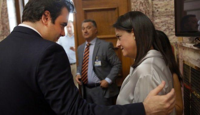 Ο υπουργός Ψηφιακής Διακυβέρνησης, Κυριάκος Πιερρακάκης με την υπουργό Παιδείας, Νίκη Κεραμέως