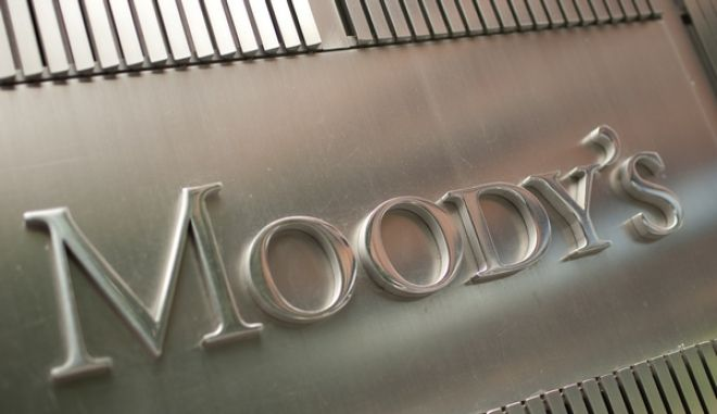 The Moody's Investors Service Inc. logo is displayed outside of the company's headquarters in New York, U.S., on Thursday, July 28, 2011. Moody's Investors Service, Standard & Poor's and Fitch Ratings have said they may consider lowering the nation's top rating if officials fail to resolve the stalemate. Photographer: Scott Eells/Bloomberg
