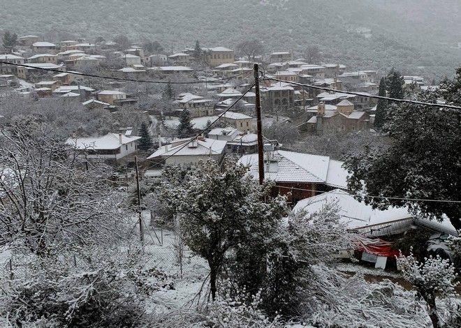 Η ''Ζηνοβία''  έφερε χιόνια στη Καρυά