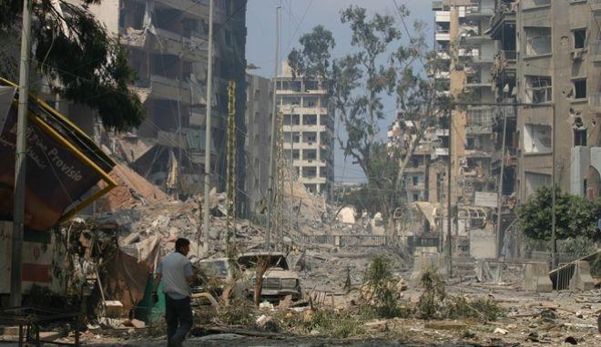 Εικόνα μετά από τις εκρήξεις στο Λίβανο