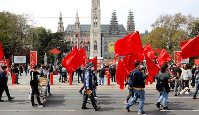 Συμβολική πορεία για την Πρωτομαγιά στο κέντρο της Βιέννης, 1 Μαΐου 2021
