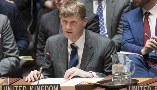 British Deputy Ambassador to the United Nations Jonathan Allen during a Security Council meeting on the situation between Britain and Russia, Wednesday, March 14, 2018 at United Nations headquarters. Britain said Wednesday it would expel 23 Russian diplomats and sever high-level bilateral contacts after Russia ignored a deadline to explain how a Soviet-developed nerve agent was used against ex-spy Sergei Skripal and his daughter Yulia. (AP Photo/Mary Altaffer)