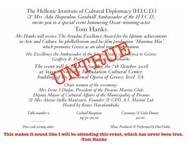 Σάλος με τη fake βράβευση του Τομ Χανκς στην Ελλάδα - Τι καταγγέλλει ο διάσημος ηθοποιός