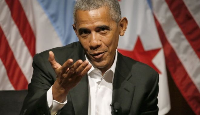 Former President Barack Obama hosts a conversation on civic engagement and community organizing, Monday, April 24, 2017, at the University of Chicago in Chicago. It's the former president's first public event of his post-presidential life in the place where he started his political career. (AP Photo/Charles Rex Arbogast)