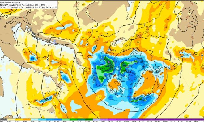 Προβλεπόμενα ύψη υετού από Πέμπτη 03/00:00 έως Πέμπτη 03/12:00 UTC