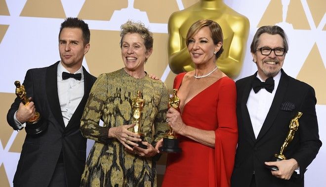"Sam Rockwell, from left, winner of the award for best performance by an actor in a supporting role for ""Three Billboards Outside Ebbing, Missouri"", Frances McDormand, winner of the award for best performance by an actress in a leading role for ""Three Billboards Outside Ebbing, Missouri"", Allison Janney, winner of the award for best performance by an actress in a supporting role for ""I, Tonya"", and Gary Oldman, winner of the award for best performance by an actor in a leading role for ""Darkest Hour"", pose in the press room at the Oscars on Sunday, March 4, 2018, at the Dolby Theatre in Los Angeles. (Photo by Jordan Strauss/Invision/AP)"