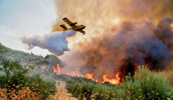 Στιγμιότυπο από πυρκαγιά στην Αρχαία Ολυμπία