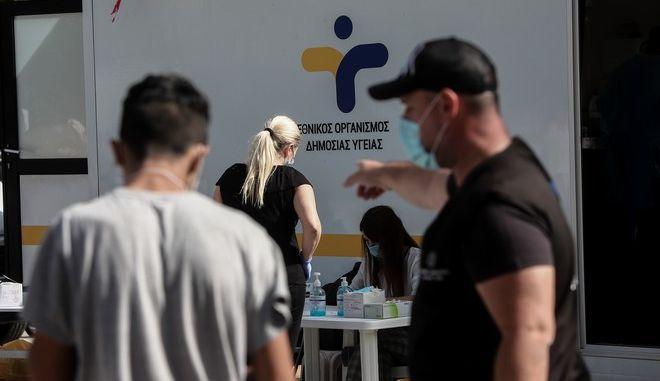 Διενέργεια χιλιάδων τεστ κορονοϊού από Κινητές Ομάδες Υγείας (ΚΟΜΥ) του ΕΟΔΥ σε πολλές περιοχές της χώρας.