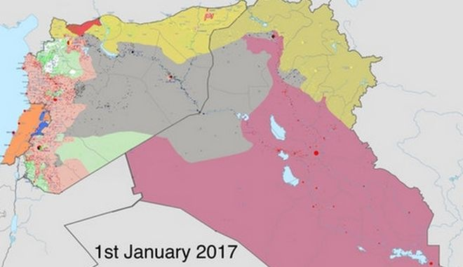 ISIS: Με γκρι χρώμα τα εδάφη που κατείχε 1/1/2017. Τι κατέχει ένα χρόνο μετά