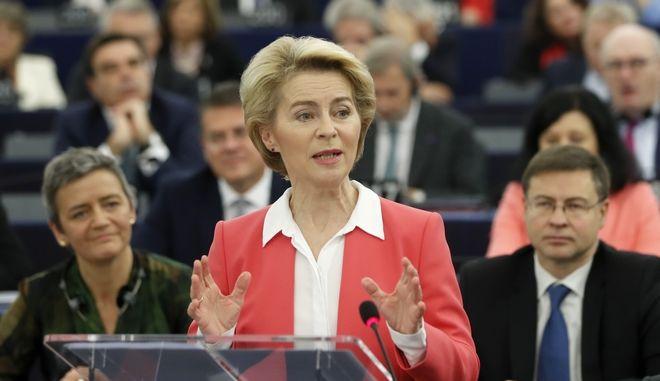 Η νέα πρόεδρος της Κομισιόν Ούρσουλα φον ντερ Λάιεν στο ευρωκοινοβούλιο στο Στρασβούργο