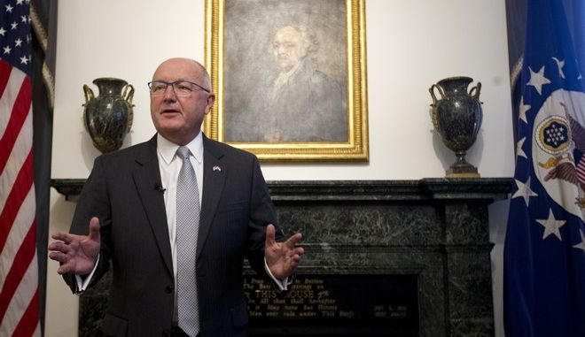 Pete Hoekstra, new U.S. ambassador to the Netherlands, gives a statement during a press conference at his residence in The Hague, Netherlands, Wednesday, Jan. 10, 2018. (AP Photo/Peter Dejong)