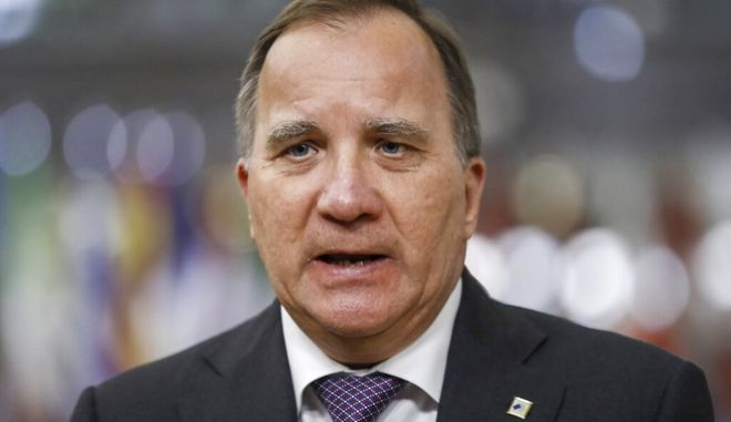 Sweden's Prime Minister Stefan Lofven speaks with the media as he arrives for an EU summit at the European Council building in Brussels, Monday, May 24, 2021. European Union leaders are expected, during a two day in-person meeting, to focus on foreign relations, including Russia and the UK. (Olivier Hoslet, Pool via AP)