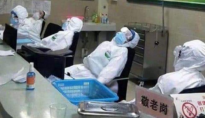 Κοροναϊός: Συγκλονίζουν τα καρέ με τους εξουθενωμένους νοσοκόμους στην Κίνα