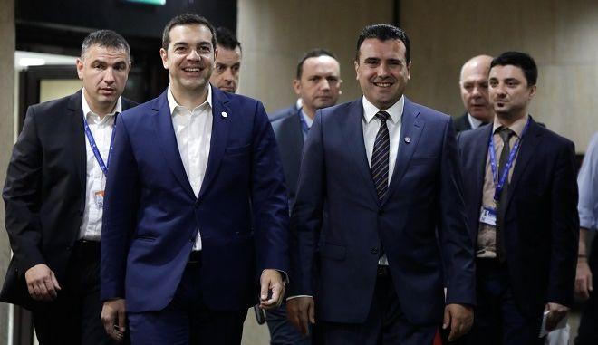 Αλέξης Τσίπρας και Ζόραν Ζάεφ στη σύνοδο κορυφής της ΕΕ στην Σόφια, 17 Μαϊου 2018