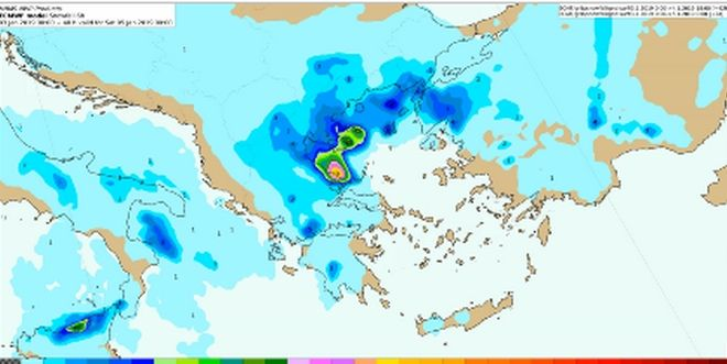 Προβλεπόμενα ύψη χιονιού (σε cm) από Παρασκευή 04/18:00 έως Σάββατο 05/00:00 UTC
