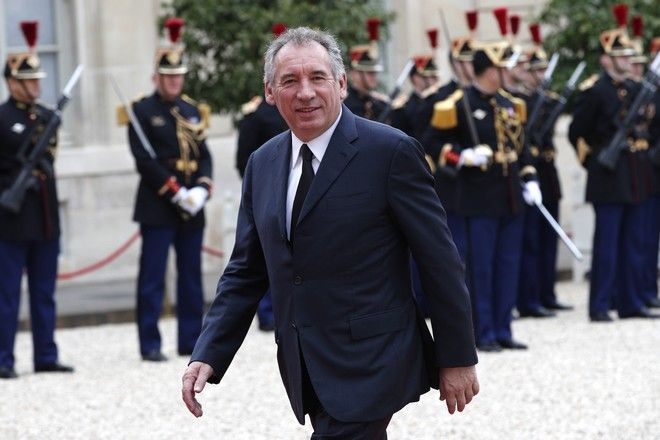 French Centrist politician Francois Bayrou arrives at the Elysee Palace Sunday, May 14, 2017 in Paris.  (AP Photo/Christophe Ena)