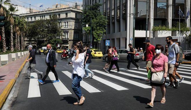 Πολίτες στο Κέντρο της Αθήνας.