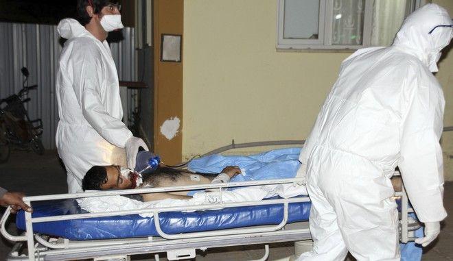Θύμα επίθεσης με χημικά στο Ιντλίμπ της Συρίας, σε νοσοκομείο της Τουρκίας τον Απρίλιο του 2017