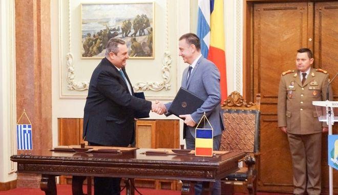 Συνάντησ του ΥΕΘΑ Πάνου Καμμένου με τον Υπουργό Άμυνας της Ρουμανίας MIHAI FIFOR στο Βουκουρέστι, Παρασκευή 9/3/2018.  (EUROKINISSI/ΓΡ. ΤΥΠΟΥ ΥΕΘΑ)