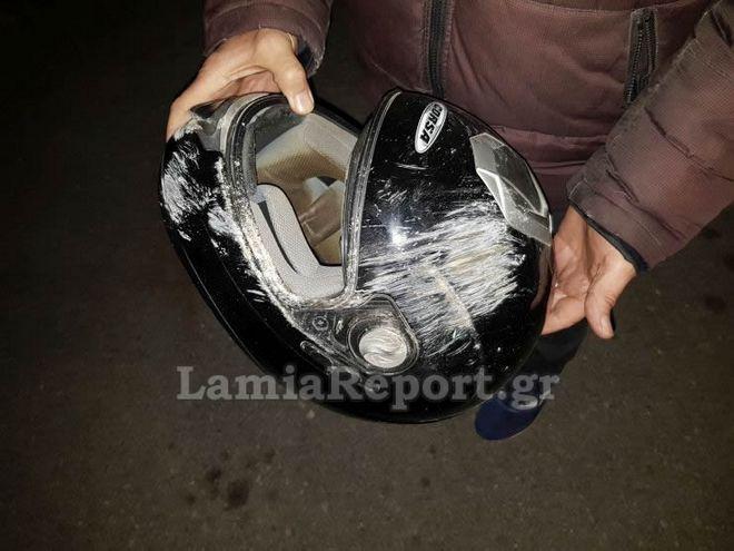 Λαμία: Σοβαρό τροχαίο με μηχανή - Το κράνος έσωσε τον αναβάτη