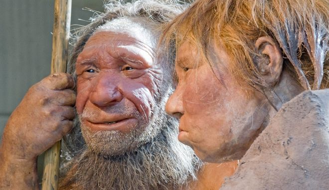 FILE - This Friday, March 20, 2009 file photo shows reconstructions of a Neanderthal man, left, and woman at the Neanderthal museum in Mettmann, Germany. A new study released by the journal Science on Thursday, Feb. 1, 2016 says a persons risk of becoming depressed or hooked on smoking may be influenced by DNA inherited from Neanderthals. (AP Photo/Martin Meissner)