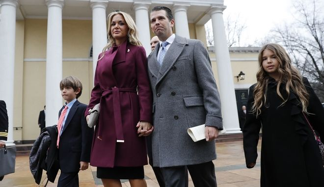 Donal Trump Jr., wife Vanessa Trump, and their children Donald Trump III, left, and Kai Trump, right, walk out together after attending church service at St. John's Episcopal Church across from the White House in Washington, Friday, Jan. 20, 2017. (AP Photo/Pablo Martinez Monsivais)