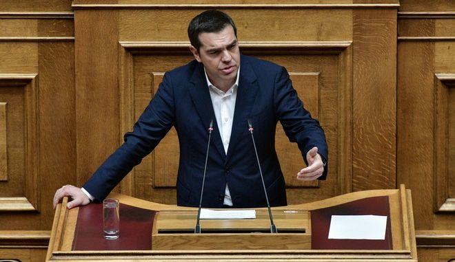 O Αλέξης Τσίπρας στο βήμα της Βουλής