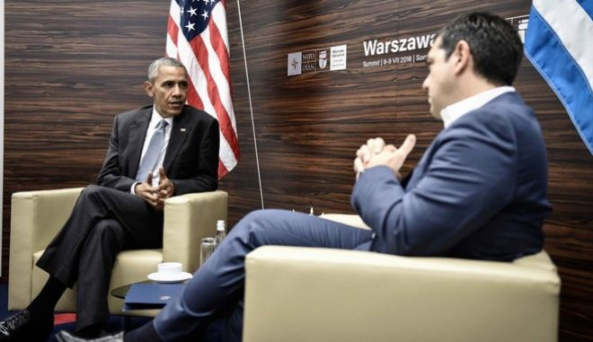 U.S. President Barack Obama and Greek Prime Minister Alexis Tsipras had a meering during the NATO summit in Warsaw on Jul. 9, 2016. /                 9 , 2016