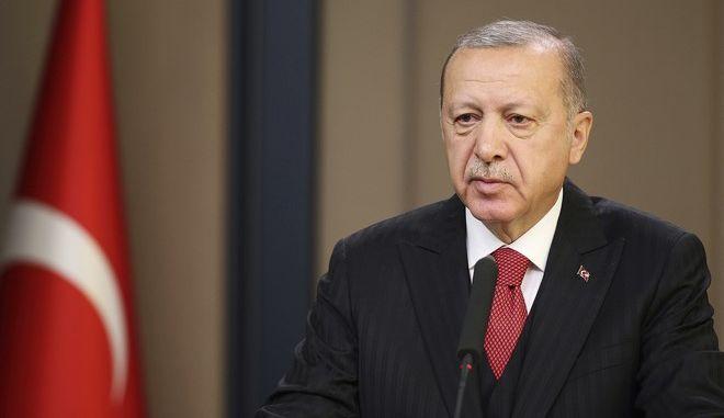 Ο Τούρκος πρόεδρος Ρετζέπ Ταγίπ Ερντογάν σε συνέντευξη Τύπου στην Άγκυρα