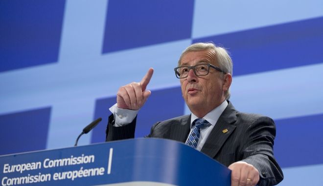 European Commission President Jean-Claude Juncker speaks during a media conference at EU headquarters in Brussels on Monday, June 29, 2015. European Commission President Jean-Claude Juncker says he felt a betrayed by Greek Prime Minister's Alexis Tsipras surprise call for referendum last weekend. (AP Photo/Virginia Mayo)
