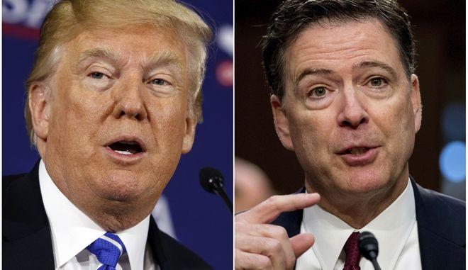Ο πρόεδρος των Ηνωμένων Πολιτειώμ Ντόναλντ Τραμπ (αριστερά) και ο πρώην διευθυντής του FBI, Τζέιμς Κόμεϊ (δεξιά)