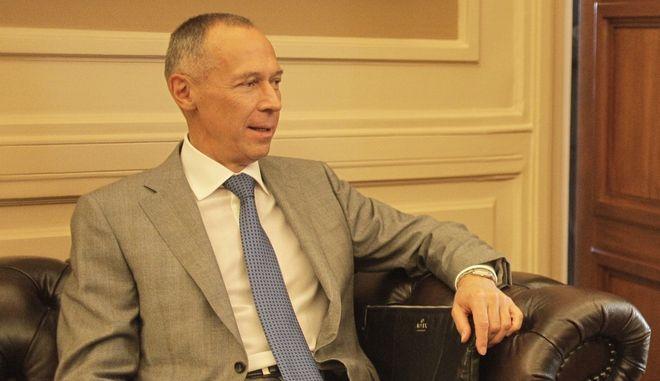 Συνάντηση Υπουργού Εξωτερικών Πέτρου Μολυβιάτη με τον Πρέσβη Ρωσικής Ομοσπονδίας Andrey Maslov, Τετάρτη 16 Σεπτεμβρίου 2015.  (EUROKINISSI/ΓΙΩΡΓΟΣ ΚΟΝΤΑΡΙΝΗΣ)