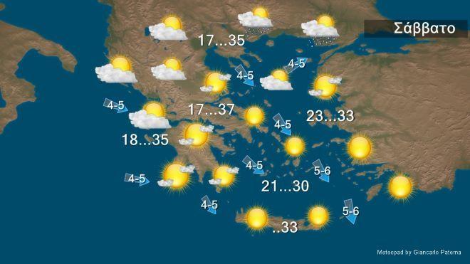 Καιρός: Καλοκαιρινός καιρός με θερμοκρασίες έως 37 βαθμούς Κελσίου