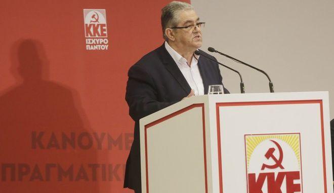 Ο γγ της ΚΕ του ΚΚΕ Δημήτρης Κουτσούμπας στην παρουσίαση του ευρωψηφοδελτίου του κόμματος