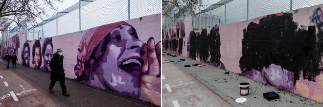 Βανδαλισμένες τοιχογραφίες στη Μαδρίτη κατά τη διάρκεια της διεθνούς ημέρας των γυναικών